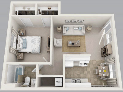 One Bedroom / One Bath - 711 Sq. Ft.*